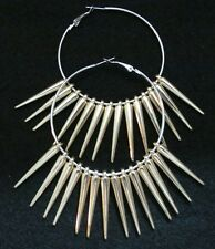 "Basketball Wives 2 1/2"" Hoop Earrings with Gold Spikes Poparazzi"