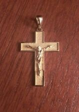 14K YELLOW GOLD CRUCIFIX CROSS CHARM / PENDANT  RELIGIOUS - 1.5""