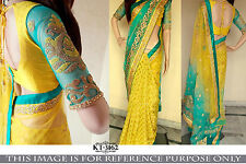 GRACEFUL DESIGNER YELLOW AND BLUE HALF AND HALF SAREE- SPECIAL DISCOUNT!!!!
