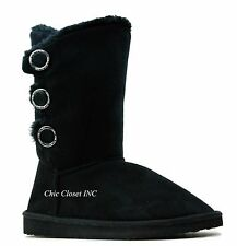 Womens Faux Fur Shealing Warm Fuzzy Winter Mid Calf Tall Snow Slip On Boots Shoe