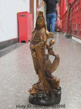China Bronze Buddhism largess Boy Kwan-Yin ride Dragon Fish Guan Yin Statue