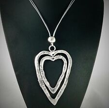 Grey Twin Strand Chunky Silver Twin Heart Pendant Long Lagenlook Necklace 30.5""