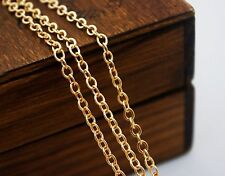 VINTAGE 10 FEET GORGEOUS GOLD PLATED CABLE 2X3MM SOLDERED LINK CHAIN KR7