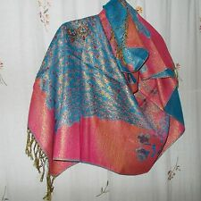 Reversible Teal, Salmon, Metallic Shawl / Wrap & Chandelier Multi-Color Earrings