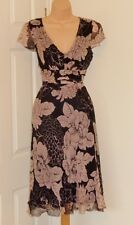 PHASE EIGHT BLACK PINK SILK CHIFFON FLORAL 40'S 50'S COCKTAIL DRESS 12 £115