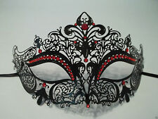 Black Red Rhinestone Venetian Mask Masquerade Ball Prom Metal Filigree