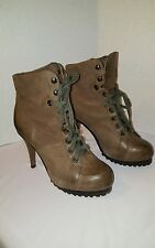 ASH  AS-PATTY WOMEN'S LEATHER ANKLE LACE UP BOOTS  SZ 7.5 US/38 EU GREENISH BRWN