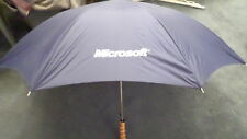 Vintage Navy MICROSOFT Umbrella with Wood Handle