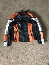 NWOT Women Harley Davidson Leather Jacket Size M  Orange Black White