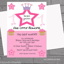 Personalised Princess 1st 2nd 3rd Photo Birthday Party Invites x 12 +env H0205