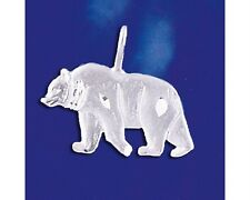 Sterling Silver Grizzly Bear Pendant Diamond Cut Italian Charm Solid 925 Italy