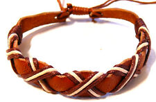 BRACELET CUIR marron HOMME/FEMME BIJOUX LEATHER  blanc BROWN brésilien