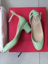 Valentino AUTH NIB Tango Patent Ankle Wrap 65MM Pumps 37 Mint Green