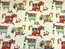 STOF HOBBY HORSE POULAIN MULTI CHILDREN'S PONY PRINT COTTON CURTAIN FABRIC