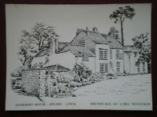POSTCARD LINCOLNSHIRE SPILSBY - SOMERSBY HOUSE PENCIL SKETCH