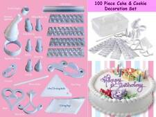100 Piece Cake & Cookie Decoration Set Letter Stencils Icing Bags Brand New