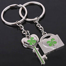 Lucky Four Leaf Clover Keychain Couple Metal Keyring Green Shamrock Gift ZXX
