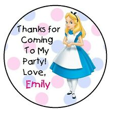 ALICE IN WONDERLAND BIRTHDAY THANK YOU FOR COMING TO MY PARTY STICKERS FAVORS