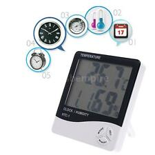 HTC-1 Digital Temperature Humidity Meter Thermometer Desktop/Wall Clock 2NS5