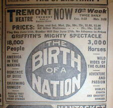 1915 newspaper w ad 1st run of D W GRIFFITH movie BIRTH OF A NATION The Clansman