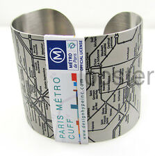 PARIS METRO WIDE CUFF ADJUSTABLE BRACELET Stainless Steel Black Design Hype