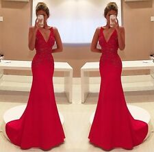 Red Bridesmaid Formal Ball Gown Party Cocktail Wedding Evening Dress Custom made