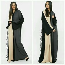 Dubai Open front Abaya Kimono Maxi Dress Bold modest new Long warm Wrap Coat 52""