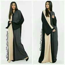 Dubai Open front Abaya Kimono Maxi Dress Bold modest new Long warm Wrap Coat 54""