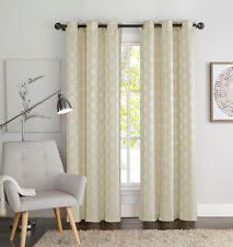 "Two (2) Natural Linen and Beige Window Curtain Panels: Geometric Design 76"" x 84"
