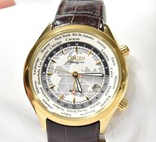 *RARE* Citizen Eco Drive World Time GMT Watch Gold Tone Leather BJ9122-03A Men's