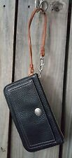Vintage Coach Wristlet in Black Leather with Silver & Luggage Trim Zipper Top