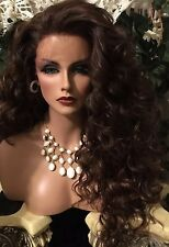 BEAUTIFUL, Curly Dark Brown, Long Lace Front HUMAN HAIR BLEND WIG!!