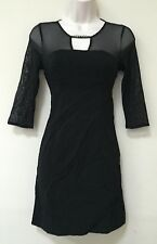 Guess LosAngeles Womens Black Lace Sheer BodyCon Mini Dress Small 2 3 4 (094)