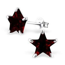 Sterling Silver Star Ear Studs With Cubic Zirconia - Garnet CZ - Gift Boxed