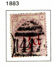 GB - 1883. Surcharged 3d on 3d violet. Imperial Crown wmk. Scott #94. USED