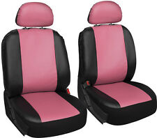 Faux Leather Car Seat Covers Pink Black 6pc Bucket Set w/Detachable Head Rests