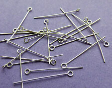 25 mm de longitud 24 Calibre 0,60 mm de espesor Plata Esterlina 925 Ojo Pins 24pcs