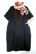 OSKA SIZE 3, Black 100% Linen Cocoon Tulip Dress, Pockets, LAGENLOOK QUIRKY BOHO