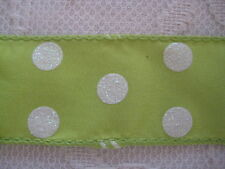 NEW RELIANT 1 1/2 Inch Key Lime Green Wire Ribbon White Glitter Dot by the Yard