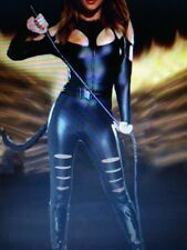 Womens Sexy CAT WOMAN Leather effect Dominatrix & WHIP Fancy Dress Outfit
