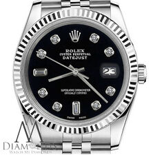 Men's Rolex 36mm Datejust Black Color Dial with 8+2 Diamond Accent Watch