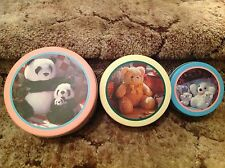 Country Bears Tin Lot of 3 BRAND NEW ~1988~VINTAGE Pandas and Teddies