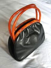 VINTAGE 50s LUCITE TORTOISE SHELL HANDLE& BLACK FAUX LEATHER HANDBAG PURSE BAG