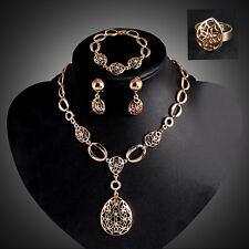 Women's NEW Hollow Statement Collar Necklace Ring Earrings Bracelet Set Magic