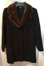 Studio by SEARLE Gray Wool Coat With Real Mink Collar Women's Size 4P