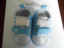 Boys Funky Light Blue Cotton Hi Top Shoes with Velcro Fasteners & Stars 12-15mth