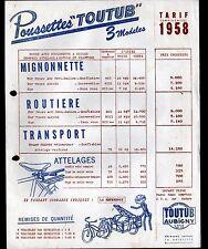 """AUBIGNY-sur-NERE (18) POUSSETTES pour VELOS """"TOUTUB"""" Tract Tarif en 1958"""