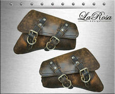 2004-2016 La Rosa Rustic Brown Leather Harley Sportster Left & Right Saddlebags