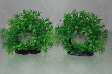 Aquarium 2 x Réaliste Vert Anneau Plantes 17 5 14 cms Pour Tous Les