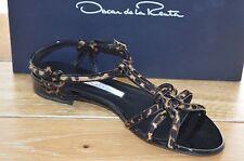 NIB OSCAR DE LA RENTA Womens FYORIA L Leopard Leather Sandal Size 7.5 EUR 37.5